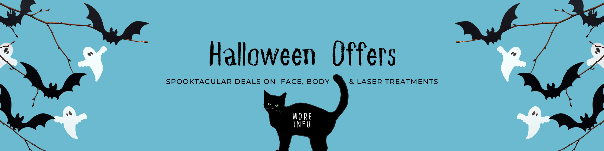 Black cat on blue background with sign Halloween Offers